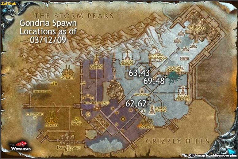 Updated Gondria Spawn Locations