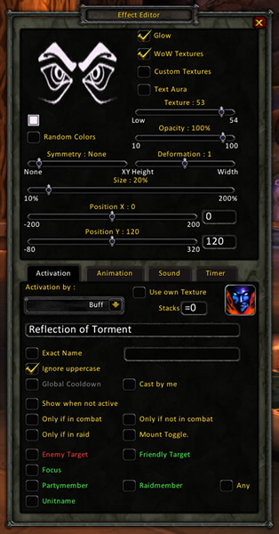 Power Auras trinket settings