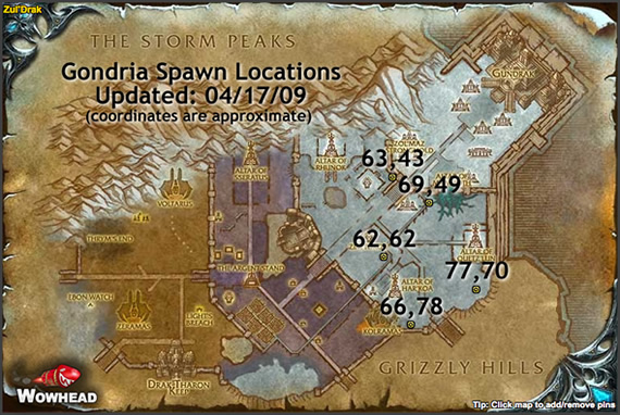 Gondria's Spawn Locations Map