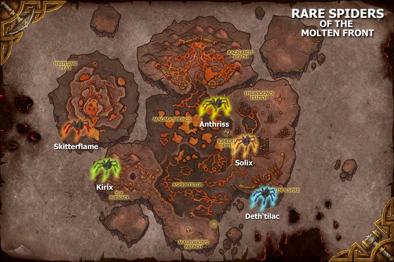 Rare Lava Spiders Spawn Map - Molten Front