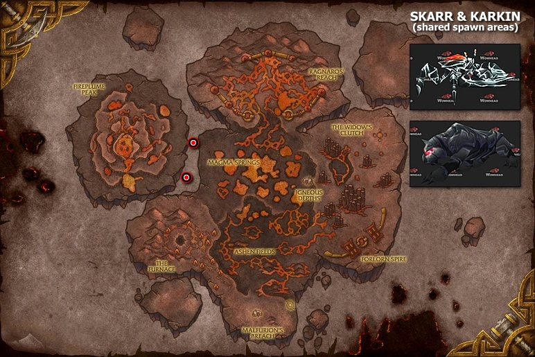 Skarr & Karkin Spawn Locations Map