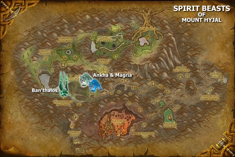 Spirit Beast Map - Mount Hyjal