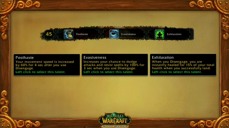 Level 45 Hunter Talents - Mists of Pandaria