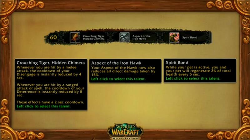 Level 60 Hunter Talents - Mists of Pandaria