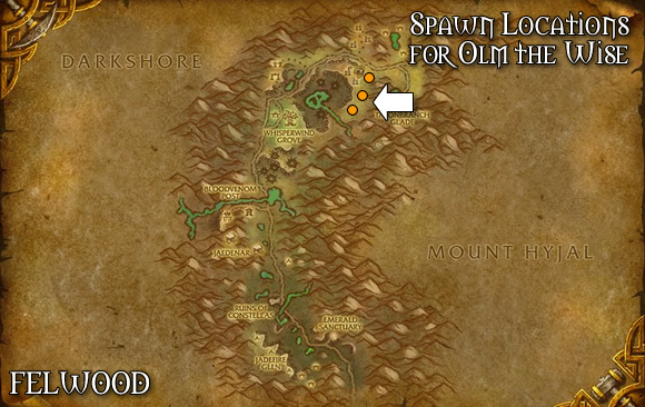 Olm the Wise Spawn Location Map