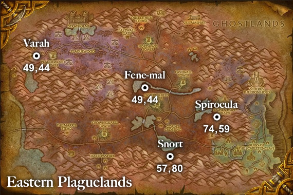 Patch 5.1 Ghostly Rare Pets Map - Eastern Plaguelands