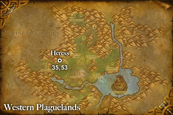 Heress Spawn Location Map - Western Plaguelands