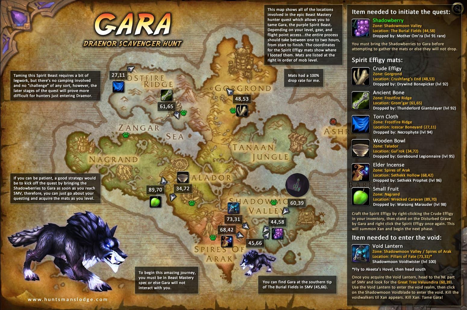 Gara the Spirit Beast Taming Quest Map