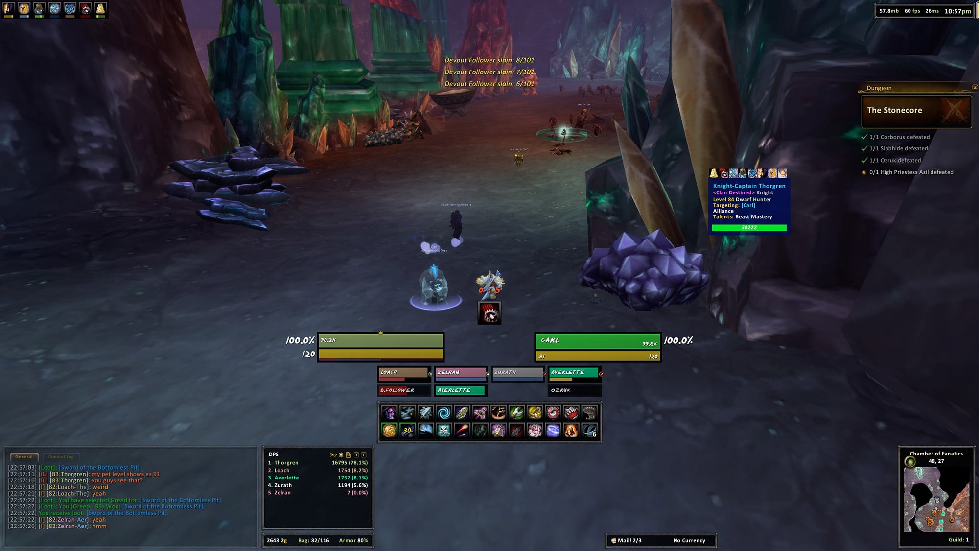 This screenshot shows my level in chat as 83, which is correct, but then it also shows my level as 84 on the tooltip and my pet's level as 91!