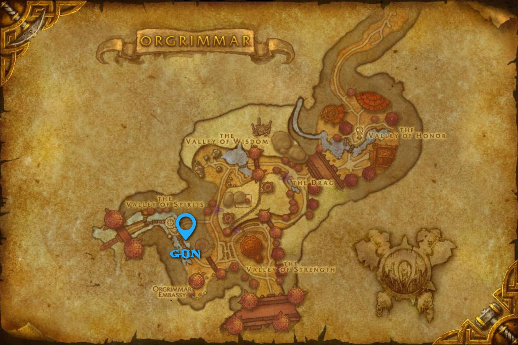 Gon Spirit Beast Spawn Location in Orgrimmar